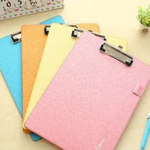 Free Shipping Candy color multifunction leather file folder cute leather board student writing pad office supplies