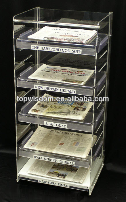 acrylic library newspaper stand