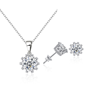 High Quality Jewelry Zirconia Stone Crown Necklace And Earring Women Jewelry Set TZ014