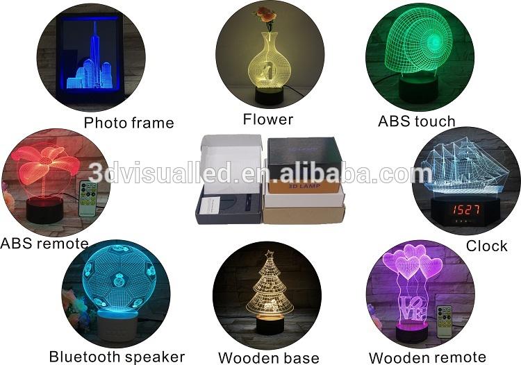 Home decor 3D acryl nachtlampje lamp USB-touch schakelaar 7 kleur licht Voor babykamer
