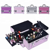 General bright purple beauty industry vanity aluminum mini makeup train case