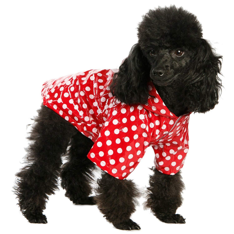 "UrbanPup Red Polka Dot PVC Waterproof Raincoat (Medium - Dog Body Length: 12"" / 30cm)"
