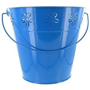 Large Blue Metal Cut Pail With Handle