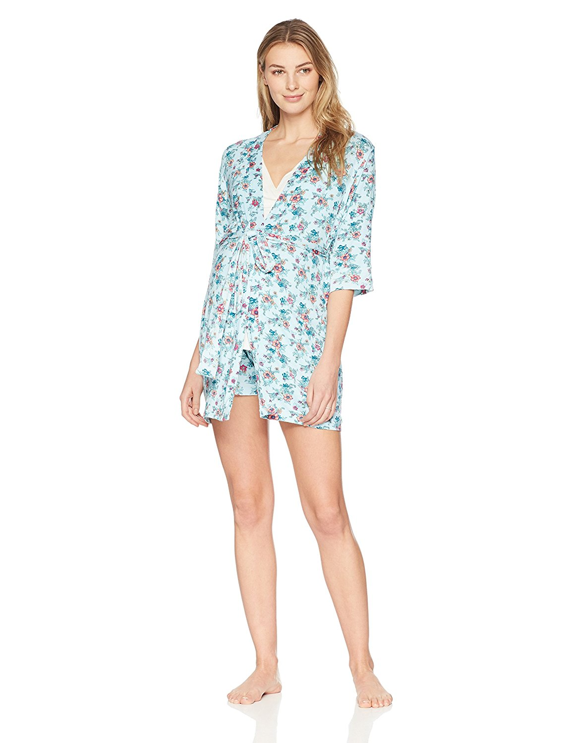 Get Quotations · Everly Grey Women s Adalia 5 Piece Maternity and Nursing  PJ Short Set With Robe and Baby 1ddce3615
