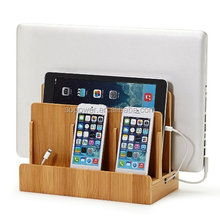 Multi port Bamboo Charging Station Stand with organizer storage rack