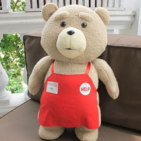 Plush Brown Teddy Bear with red clothes