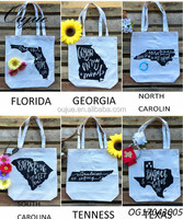American State Cotton Canvas Tote Bag Hand Printed Market Bags