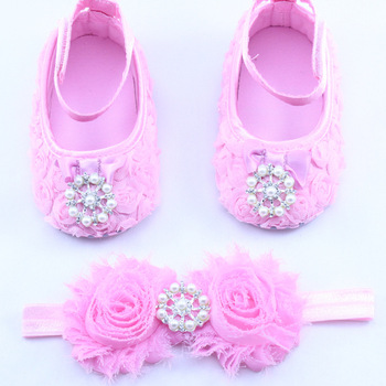 BB1710 2017 Girl Party Baptism Baby Sapato Menina Headband set Flower Newborn Shoes Hair Accessories Zapatos
