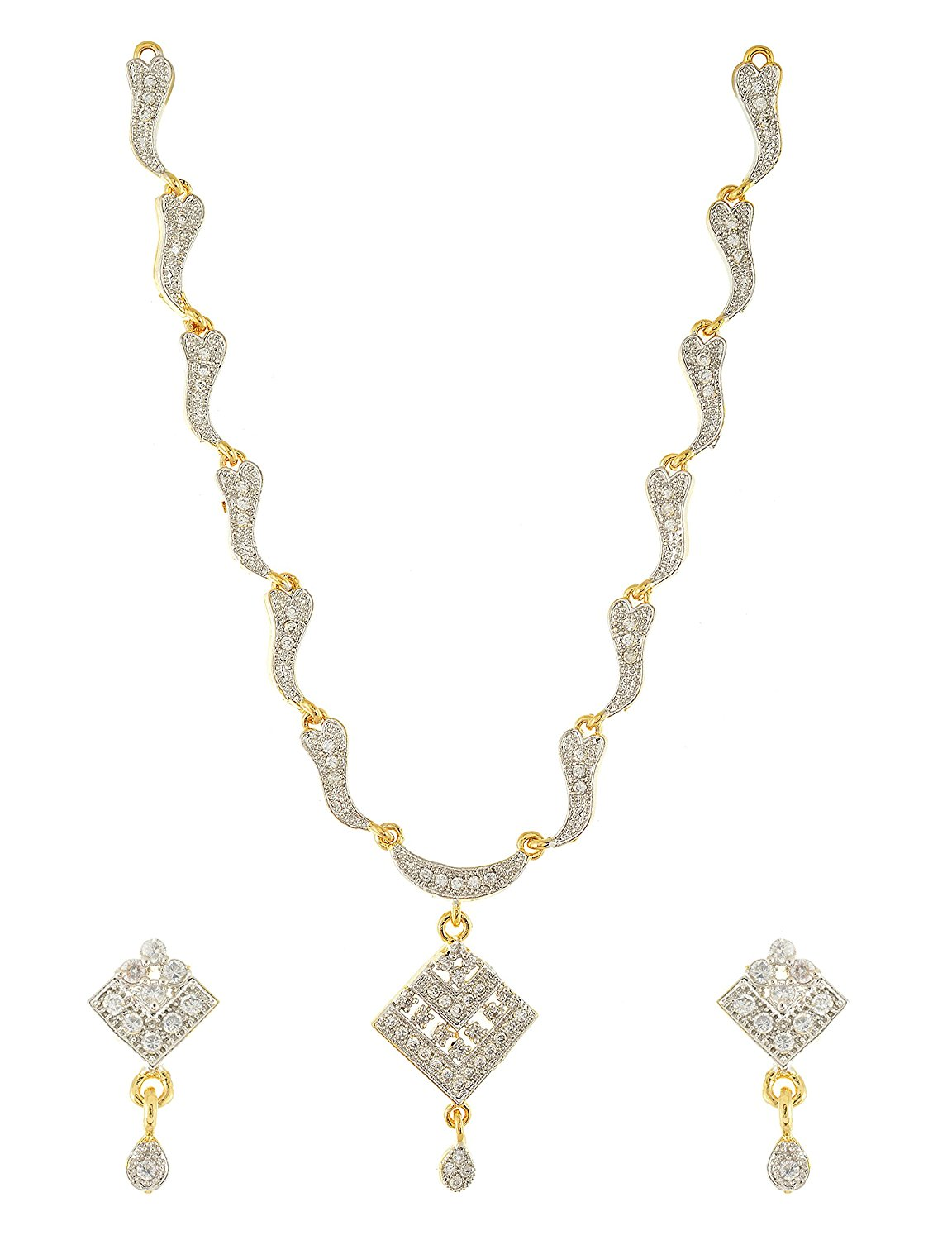 Handicraft Kottage Women's Gold and Silver Gold Plated Strand Necklace Set (HK-Neck-022)