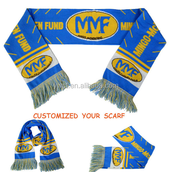 Logo Jacquard Blue Yellow White Winter Sports Fans Mufflers and Scarfs