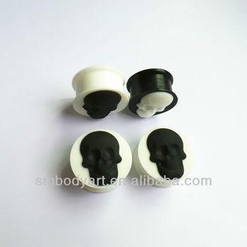 Large Gauge Skull Silicone Flesh Ear Tunnel Plug Trendy Design ...