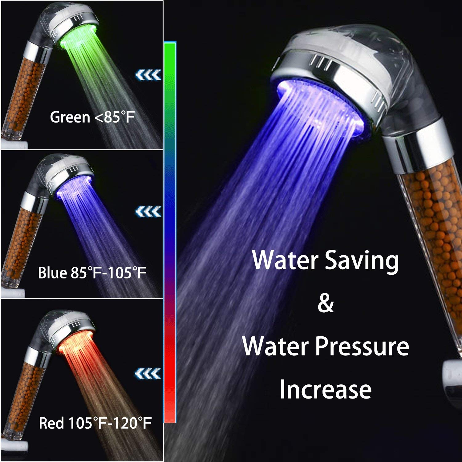 1pc Led Colorful Shower Head 7-color Changing Shower Head No Battery Led Waterfall Shower Head Round Bathroom Head Freeship Bathroom Fixtures