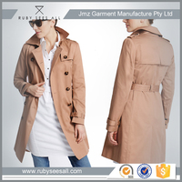 OEM fashion casual ladies belted long coat latest design for women wholesale 2016 trench coat