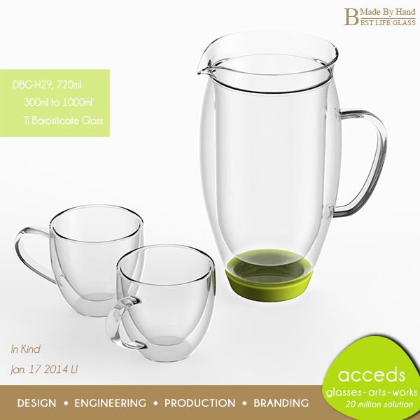 Fashionable Pyrex Glass Water Jug Set With Handle