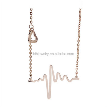 14k Rose Gold Plated Jewelry Wholesale Heartbeat Wave Design Pendant