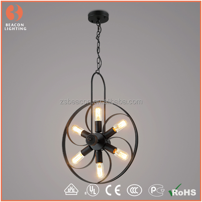 2016 New Design Loft Lighting Black Iron New Industry Fan With ...