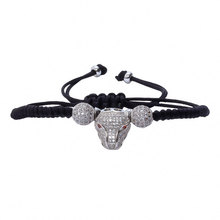 2016 Fashion Shambala Silver Ball Macrame Bracelet Leopard Charm Friendship Woven Bracelets for Men