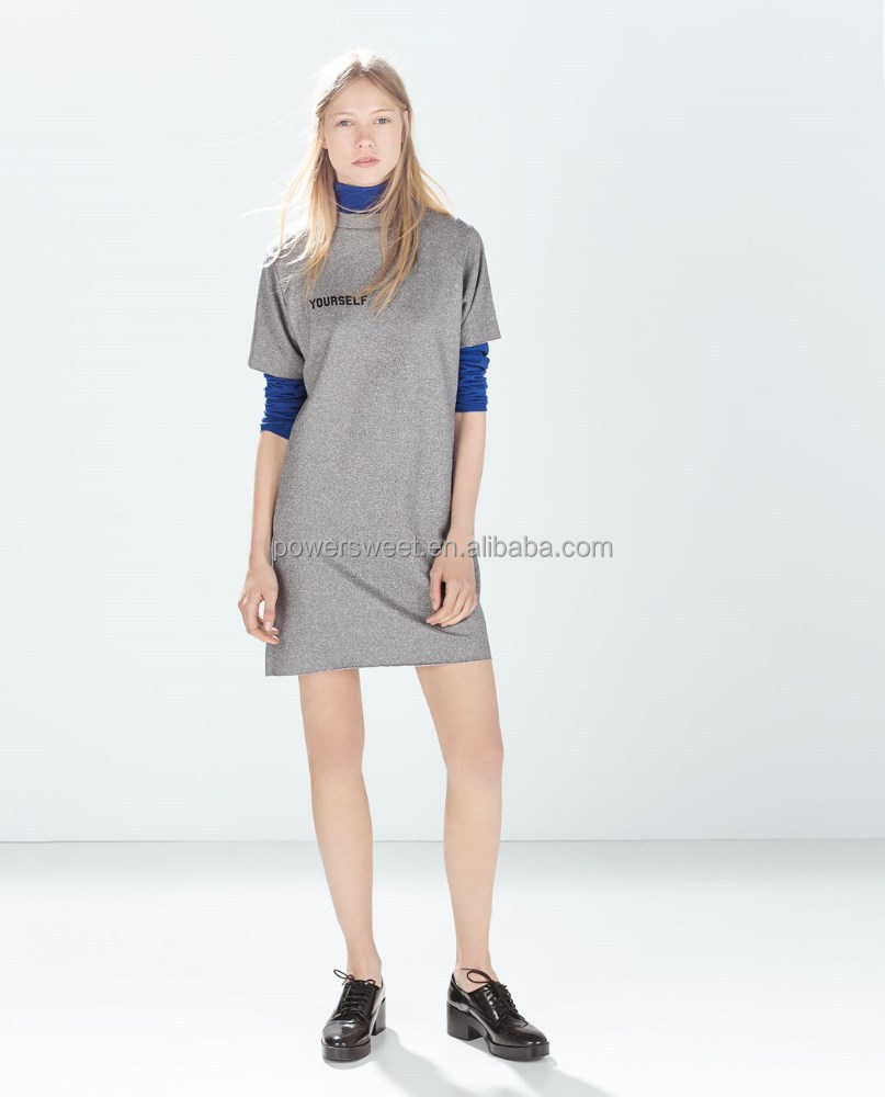 hot selling crew neck pullover knit dress with words printed OEM&ODM
