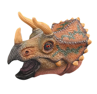 Triceratops Head Gloves Realistic Dinosaur Hand Puppets Gloves Soft Vinyl Rubber Animal Head Finger Puppets Toys