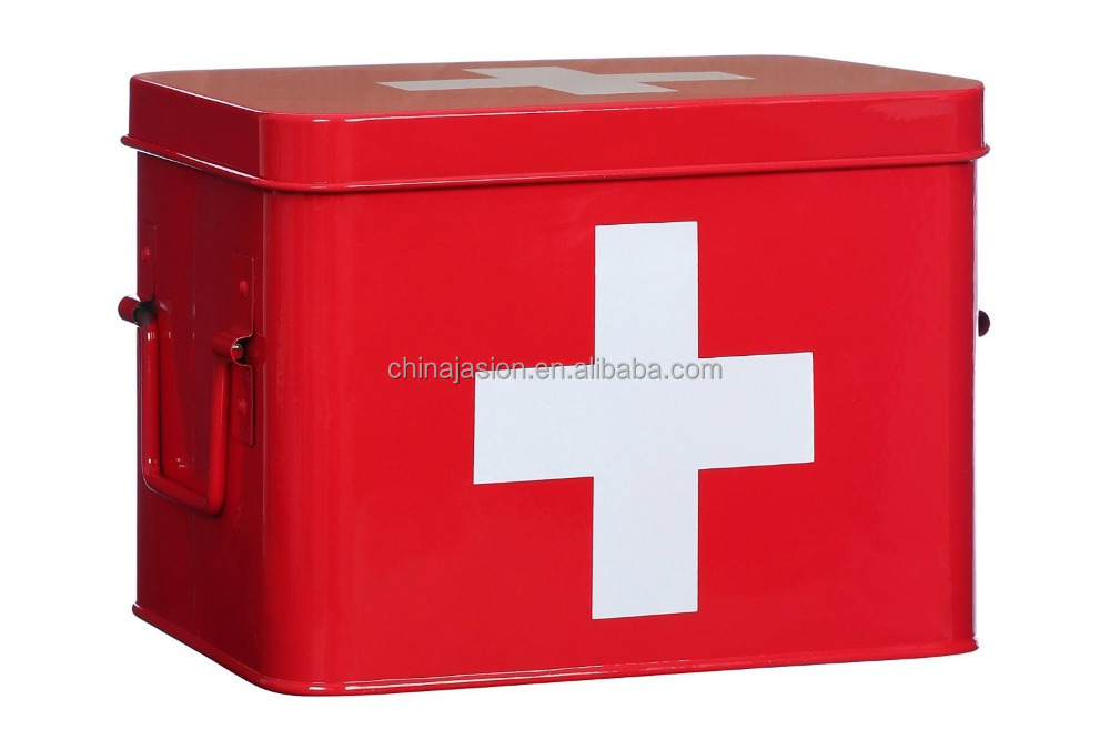 MD0748 fist aid metal medical box Storage Box Metal Red with White Cross Medium