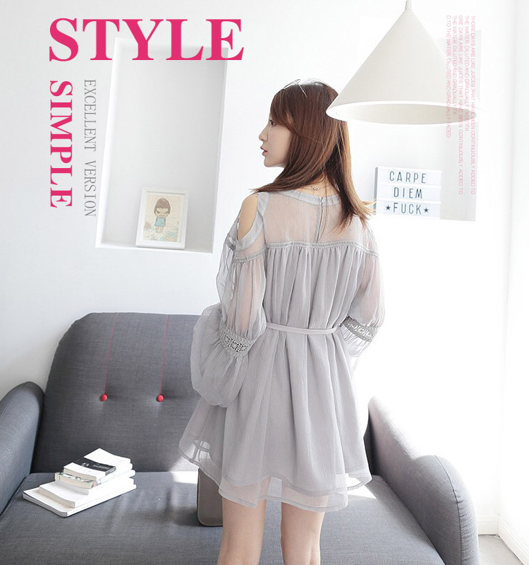 Best Selling Foreign Trade Chiffon Lace Light Grey Short Dress