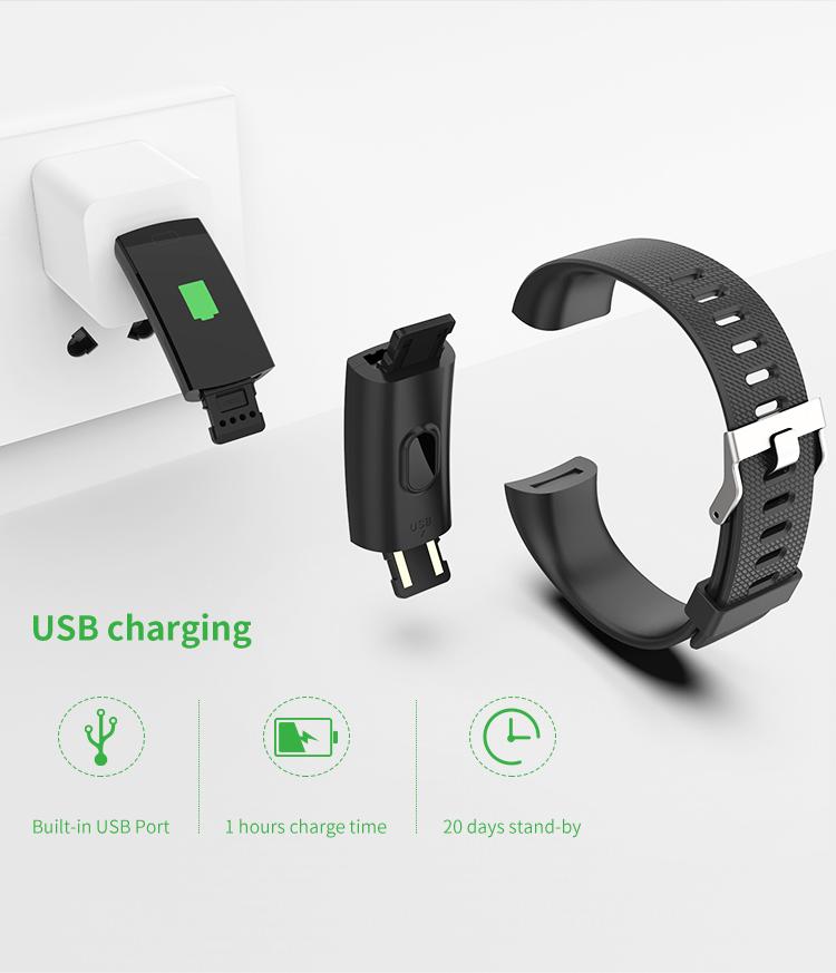 Rastreador de fitness, faixa de atividade rastreador com monitor de h, pulseira pedômetro pulseira inteligente para ios & android