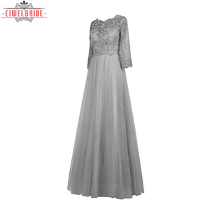 Chinese Gray Ankle Length wedding dress mother of the bride with sleeves