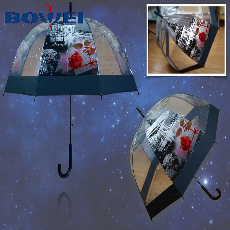 Custom stick dome inside full printed clear umbrella for wedding