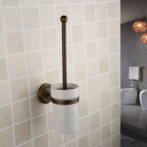 2014 Rural Design White Ceramic Antique Copper Toilet Brush Holder Collections for Bathroom