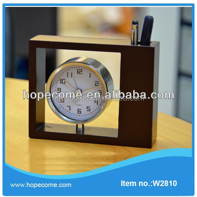 Pen Holder Antique Wooden Desk Clock For Office
