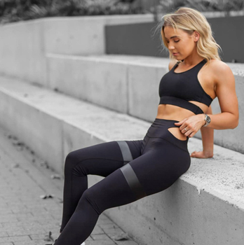Wholesale Apparel Stretched Sport Fitness Clothing Gril Sports Bra Set Women Active Wear High Waisted Yoga Pants Leggings