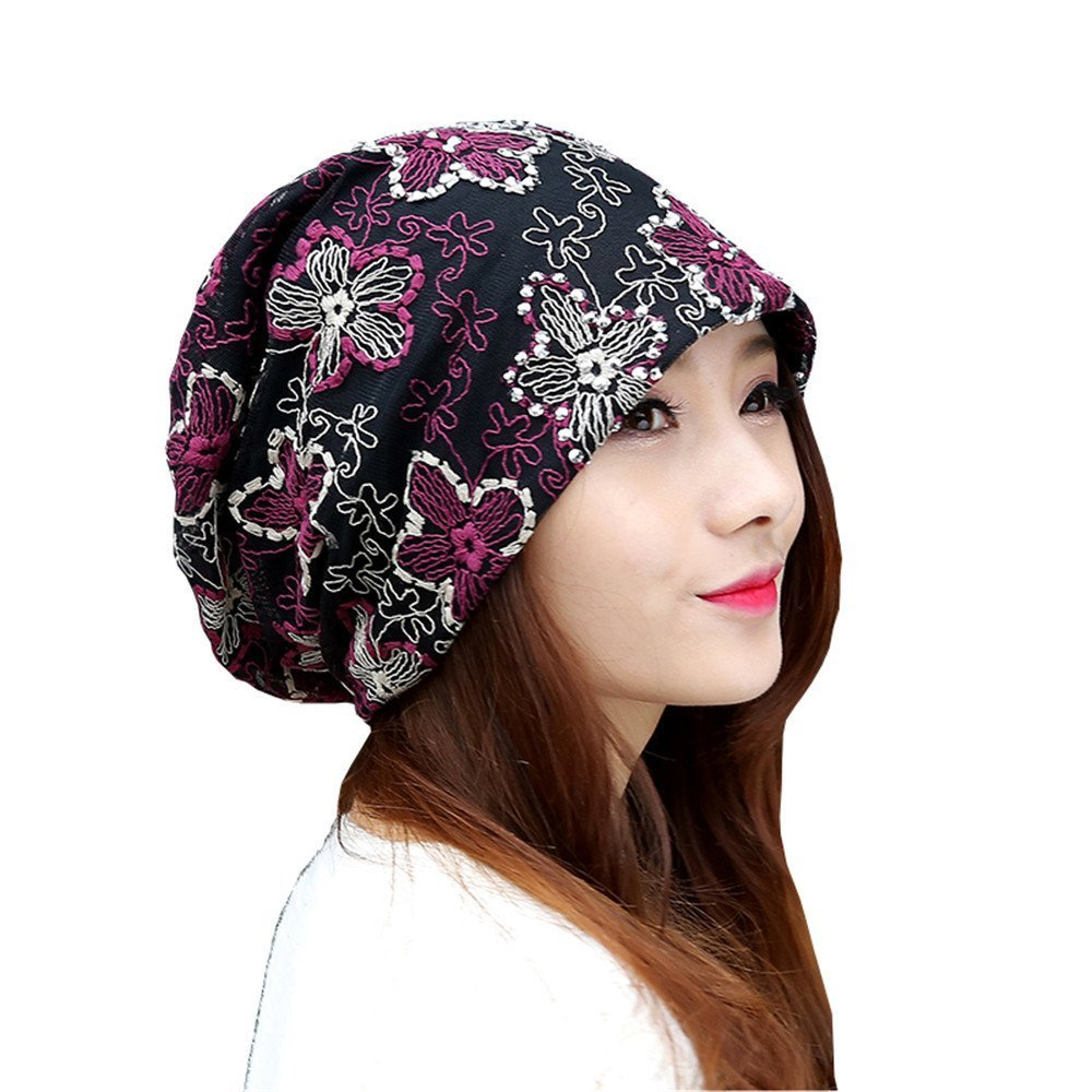 Hat female lace sleeve cap cap cap and a thin section of confinement chemotherapy female models Baotou cap pile cap Female Flower Hat hand drill sleeve cap for head circumference 56cm-59cm,Violet