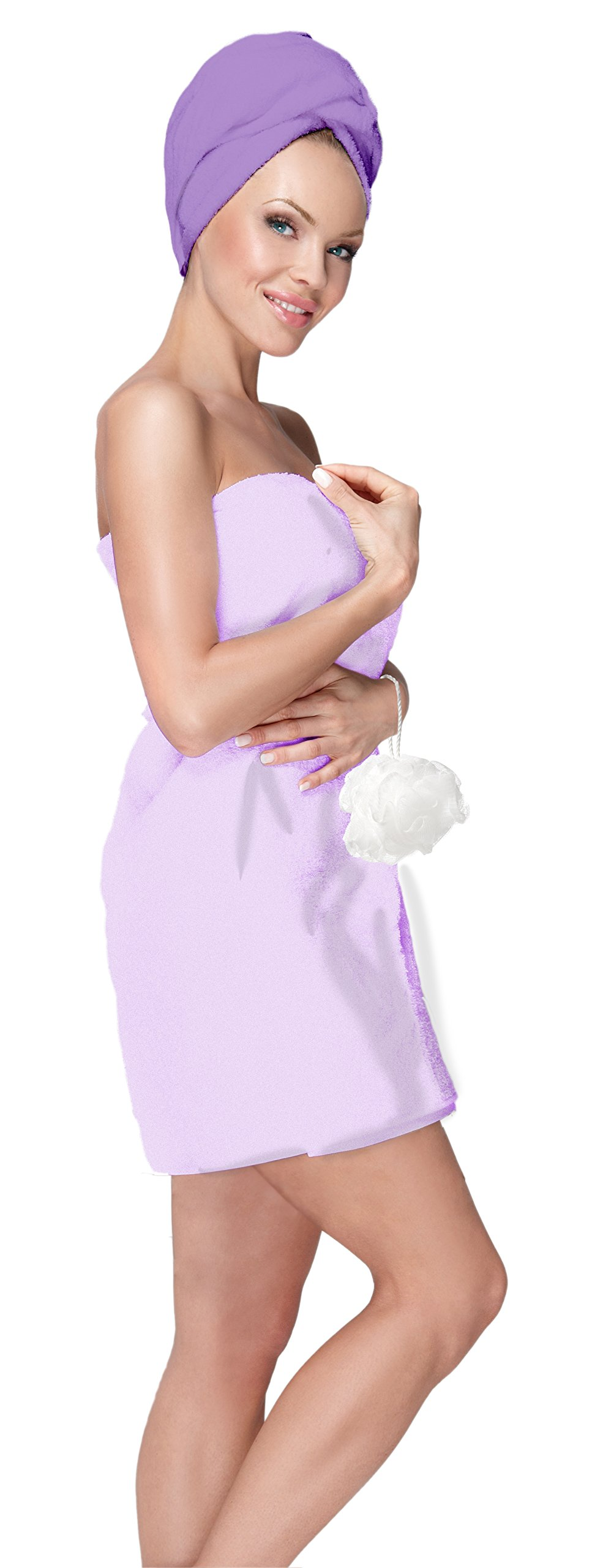 Adrienne Vittadini Women's 3 Piece Bath Body Plush Towel Wrap Spa Set | Bath Body Towel Wrap with Adjustable Fastener, Hair Towel Twist, Loofah/Bath Body Sponge
