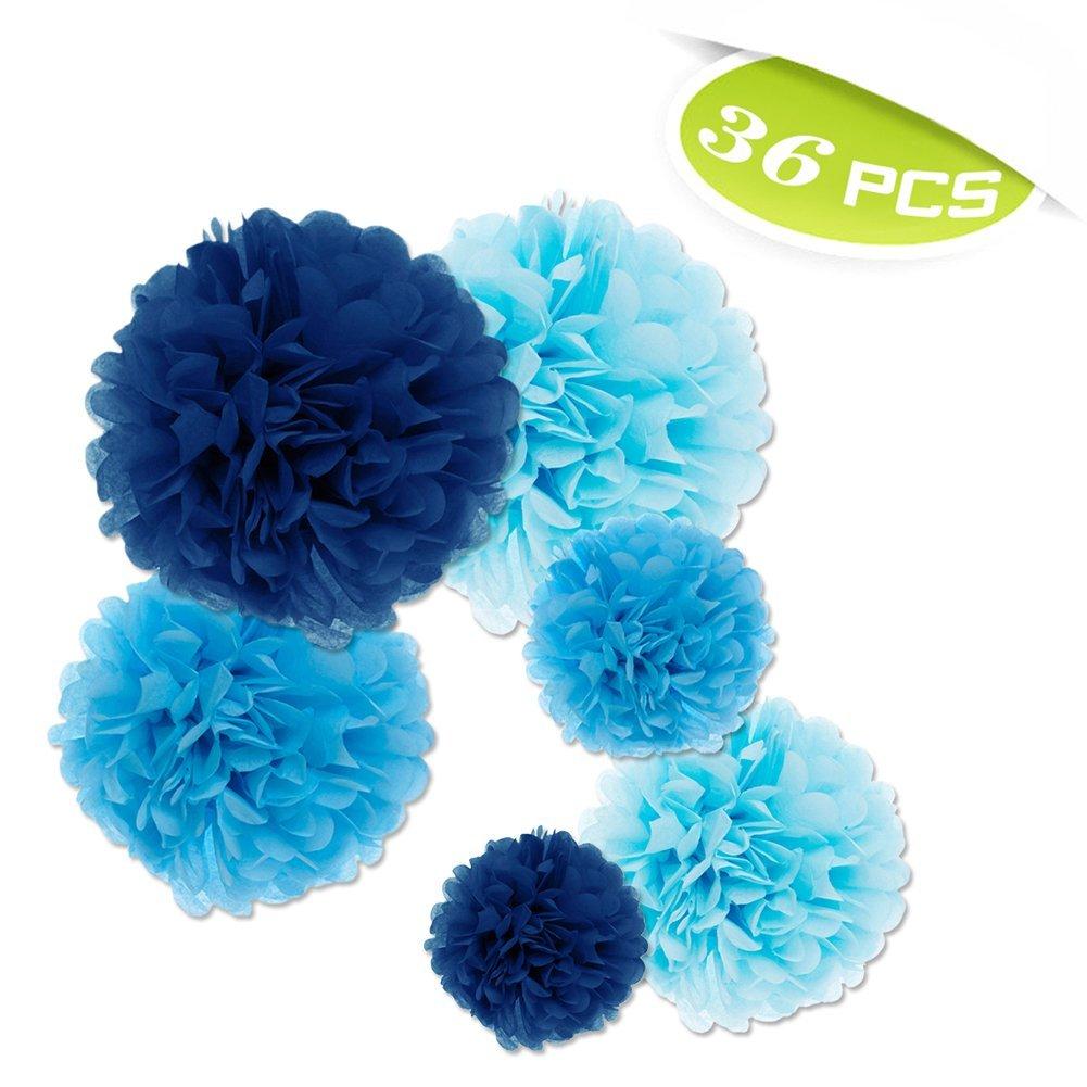 """(Price/36 PCS)Aspire Pom Poms, Blue Tissue Paper Flower, 6""""/ 10""""/ 14"""", Party Favors"""