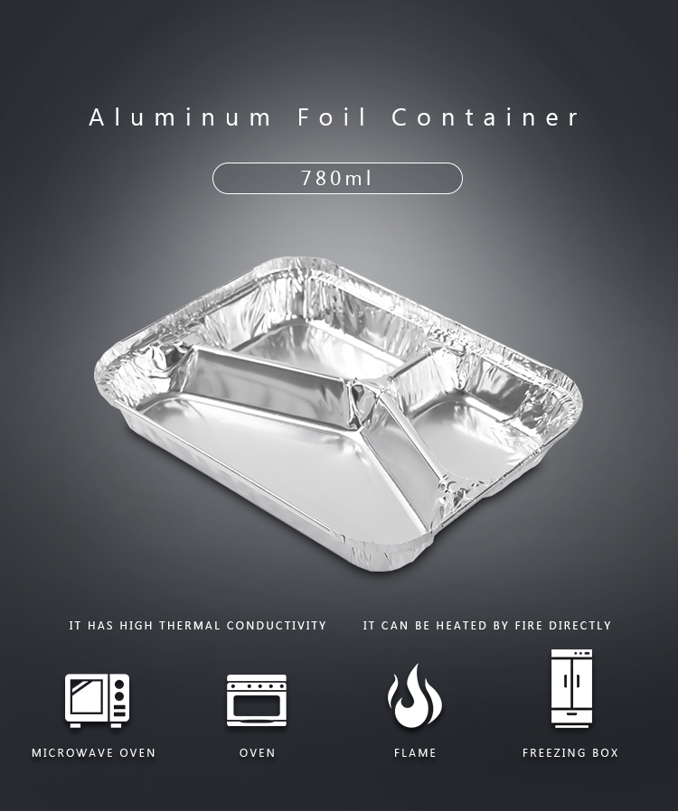780ml 3 Compartment Food Takeaway Container / Disposable Aluminum Foil Plates
