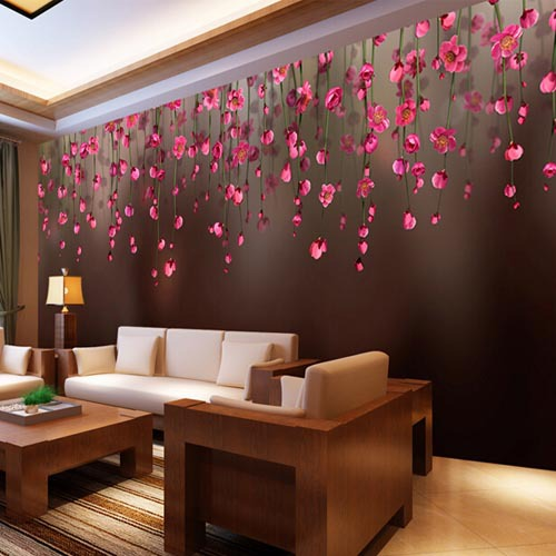 Wall Murals Paper Mural Luxury Wallpaper Bedroom For Walls Home Decoration Grande Fresque Murale Paysage Red Flower In Wallpapers From