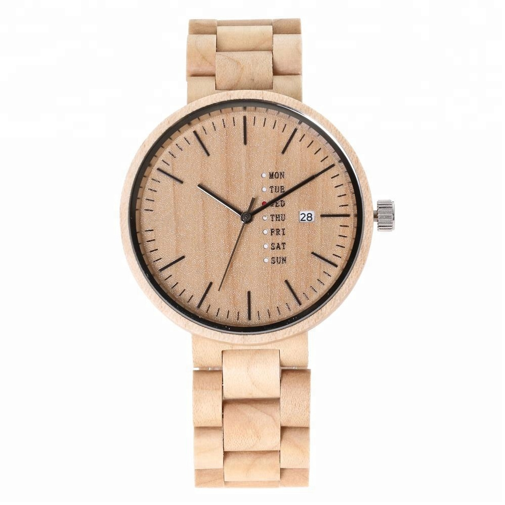 High quality maple wooden watch with calendar