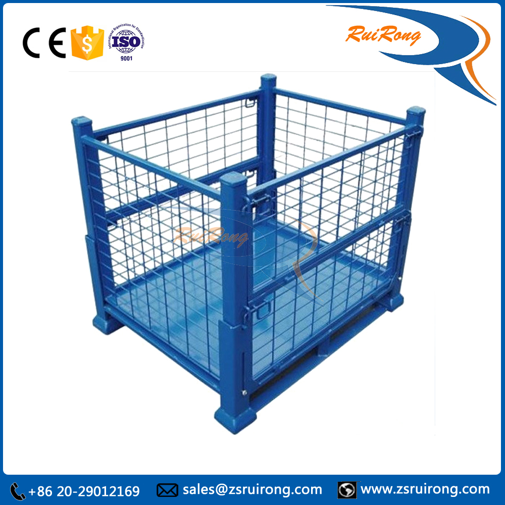 european type rolling metal foldable wire mesh storage cage pallets