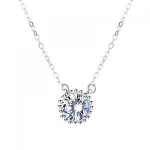 New wholesale micro pave cubic zirconia 925 sterling silver diamond necklace for women