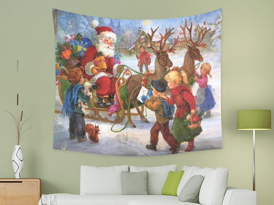 Custom Wall Tapestry Hanging Antique Christmas Tapestry For Home
