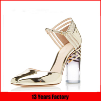 Clear heel shoes,mirror golden leather sandals,fashion woman shoe