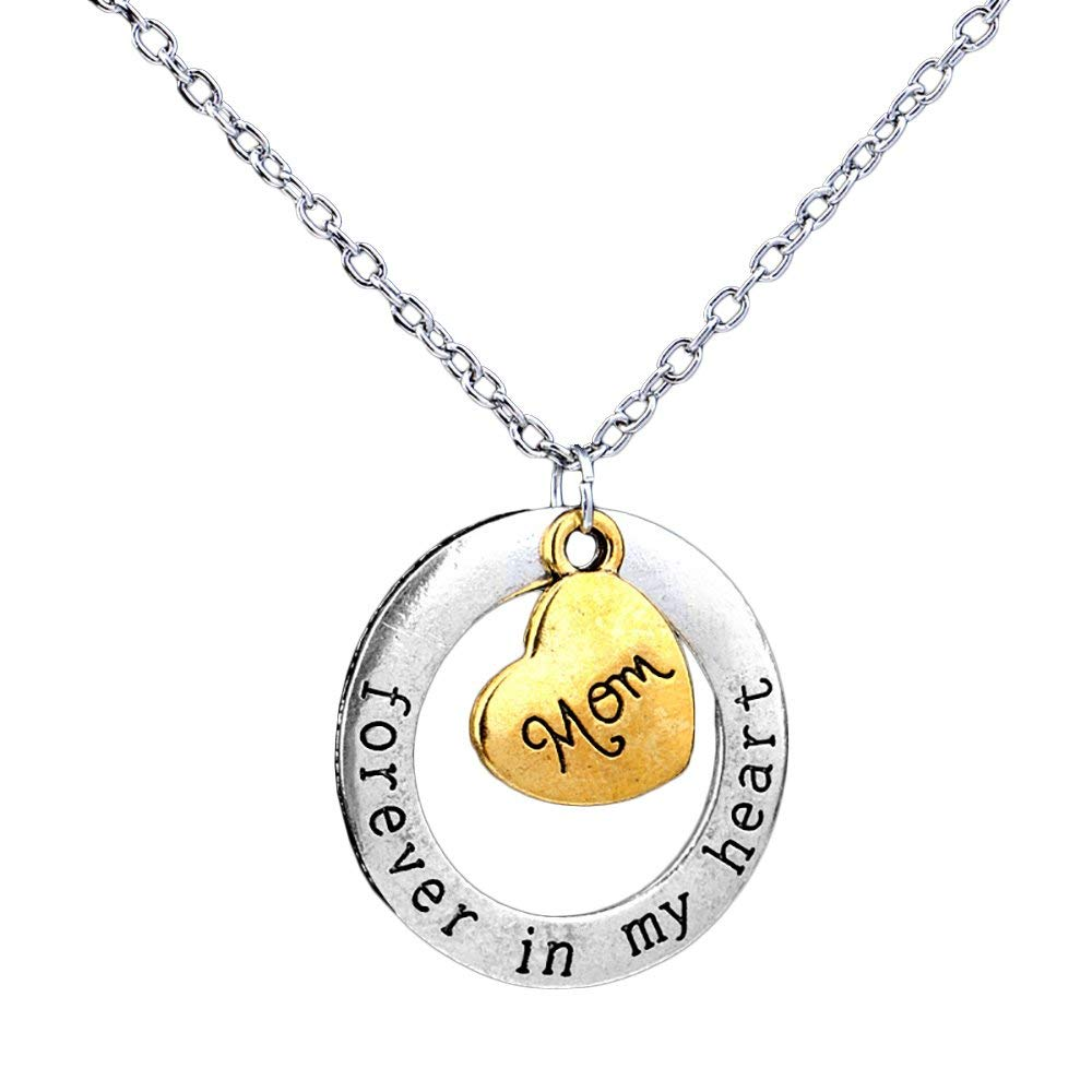 Pop Fashion Prime Amazon Day Heart Charm Necklace, Personalized Two Tone Gold and Silver Pendant Necklace, Forever in My Heart Necklaces for Women Girls, Ladies, Best Jewelry Gift Idea's - msrp 29.99