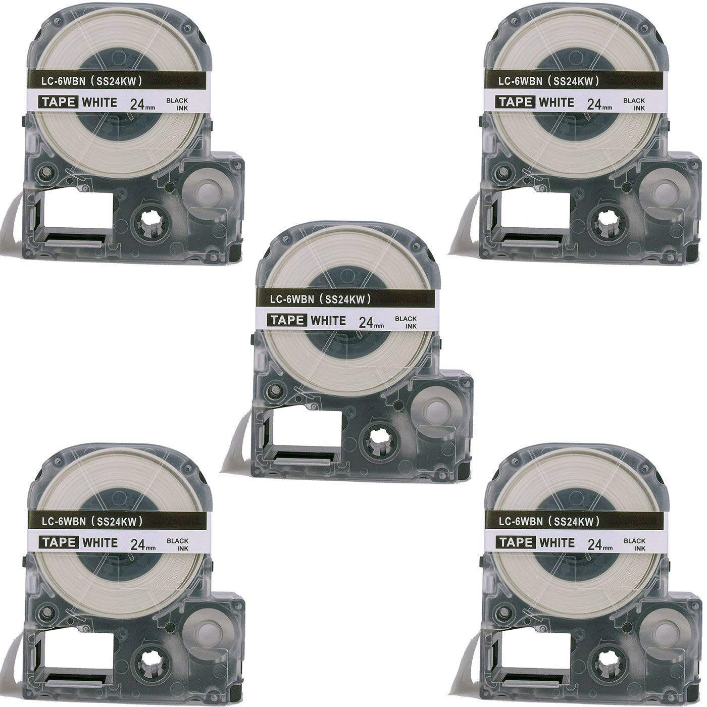 Molshine 5 Pack LC-6WBN9 LK-6WBN9 (SS24KW) Compatible Label Tape for EPSON Black on White (1/1 24mm) 8m