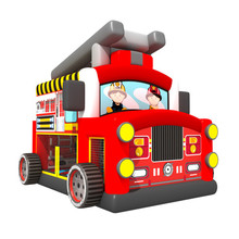 Wholesale red adult jumpers bouncers inflatable fire truck bounce house
