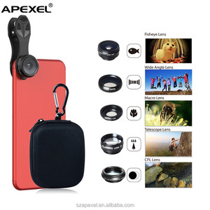 5 in 1 Universal Clip-on Cell Phone Camera Smartphone Camera Lens Kit 198 Degree Fisheye, 0.63X Wide Angle, 15X Macro lens