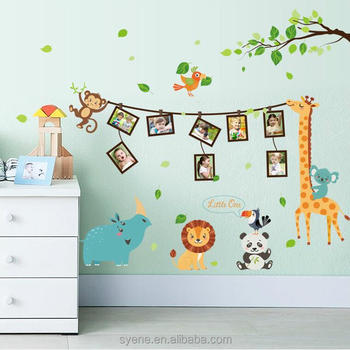 Syene New 3d Kids Animals Giraffe Lion Panda Photo Frame Wall Stickers Family  Tree Wall Decor