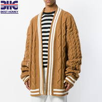 Mens Oversized wool acrylic blend chunky knit open knit long sweater cardigans