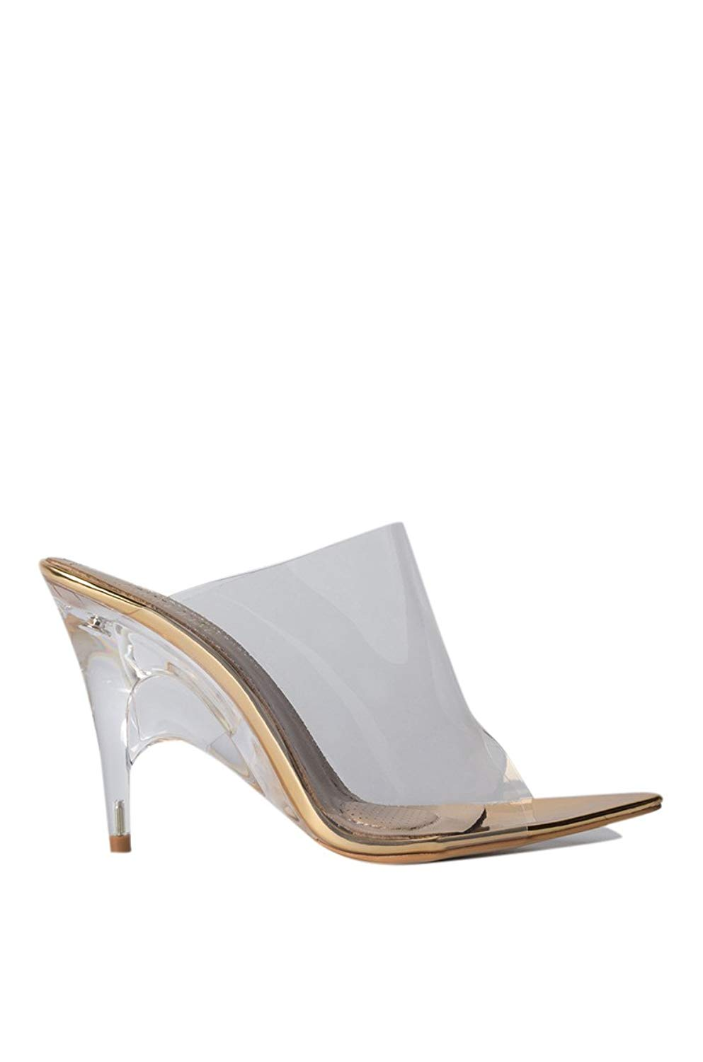 eb24ca58c5b4 Get Quotations · AZALEA WANG Clear PVC Gold Perspex Lucite Heel Pointy Toe  Mule Slip On High Heel Sexy
