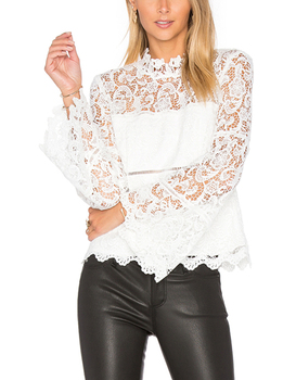 bd293259696e Ladies Long Sleeve High Neck White Lace Top