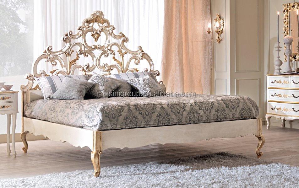 Lujo Royal Tallado Estilo Italiano Blanco Y Oro,Madera Maciza De ...